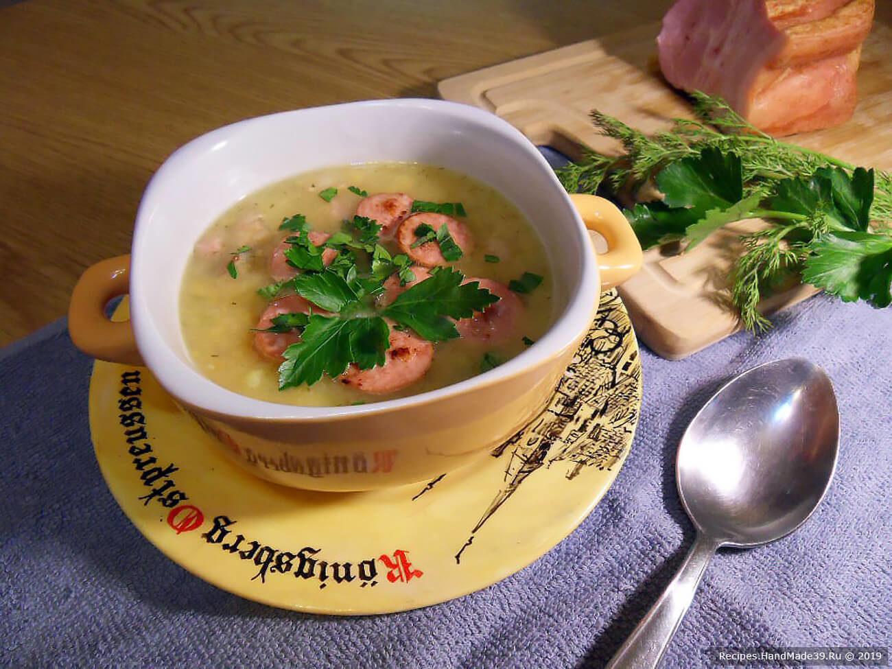 Гороховый суп с копчёностями «Зима на Прегеле»