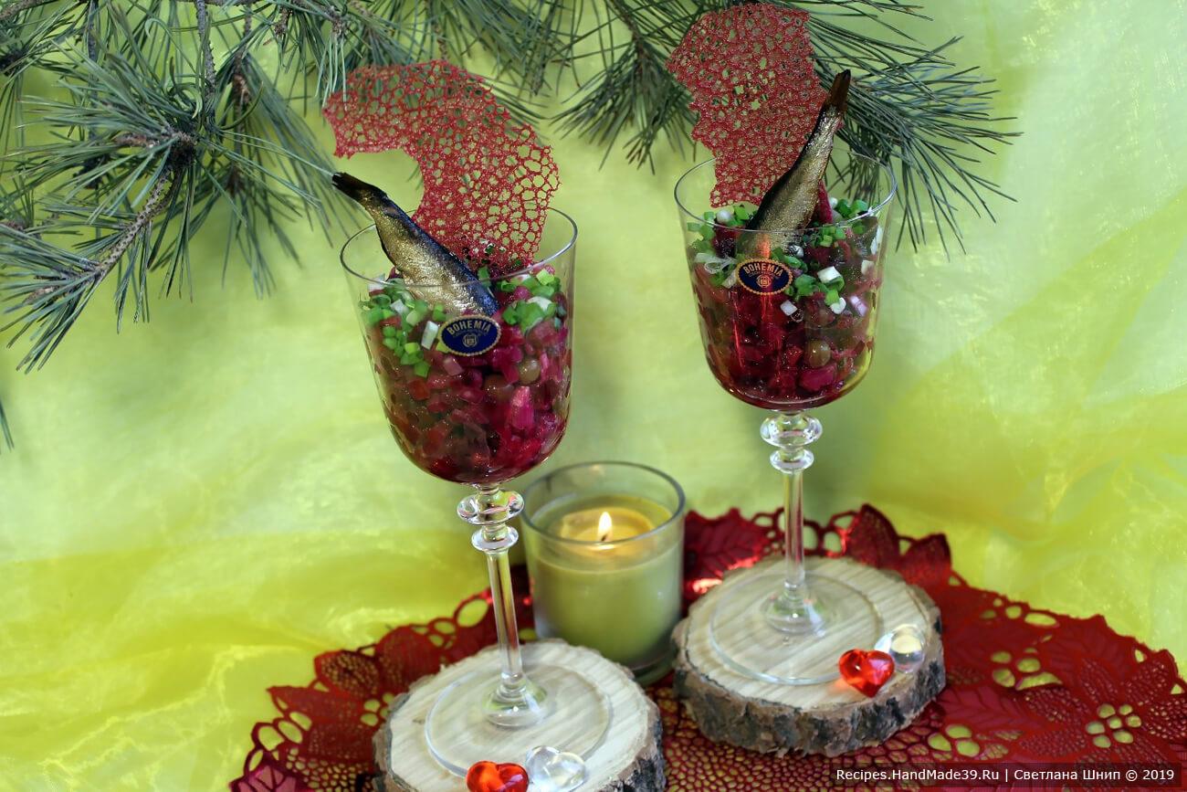 Для романтического вечера можно подать винегрет в бокалах. Приятного аппетита!