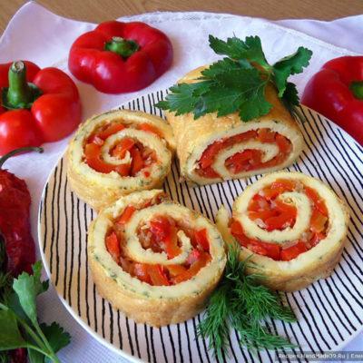 Закусочный яичный рулет со сладким перцем – пошаговый рецепт с фото