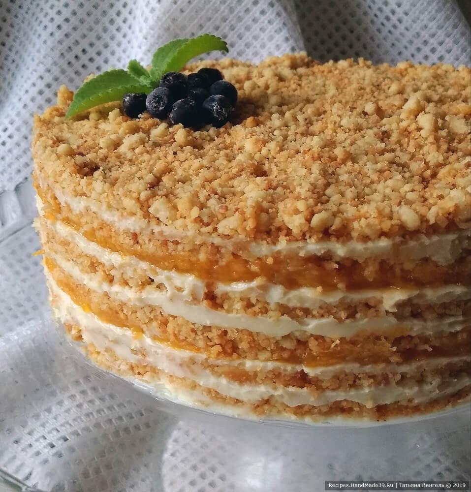 Торт без духовки «Крошка» с кремом и домашним мандариновым конфитюром