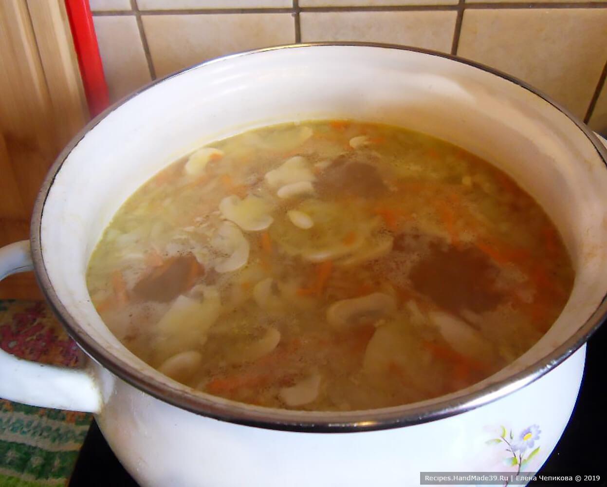 Добавить в суп обжаренные овощи и грибы, варить до готовности