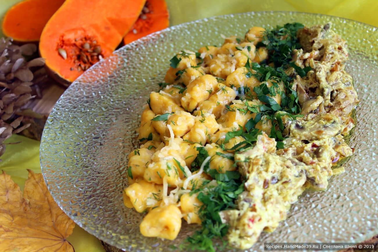 Ньокки из картофеля и тыквы с домашним грибным соусом