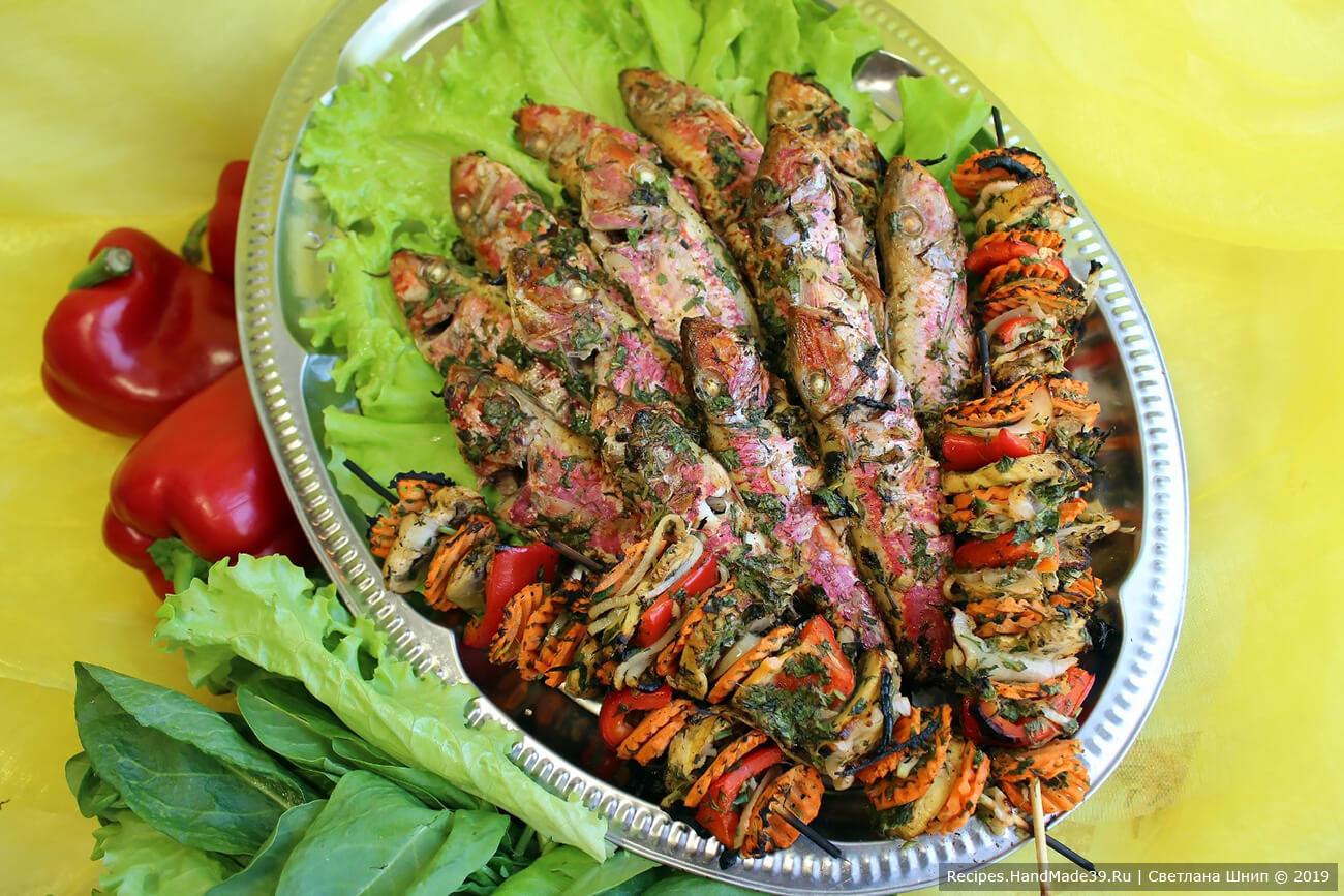 Барабулька на домашнем гриле с овощными шашлычками