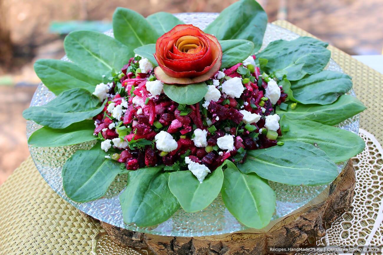 Диетический свекольный салат с фасолью, яблоком, творогом и зеленью