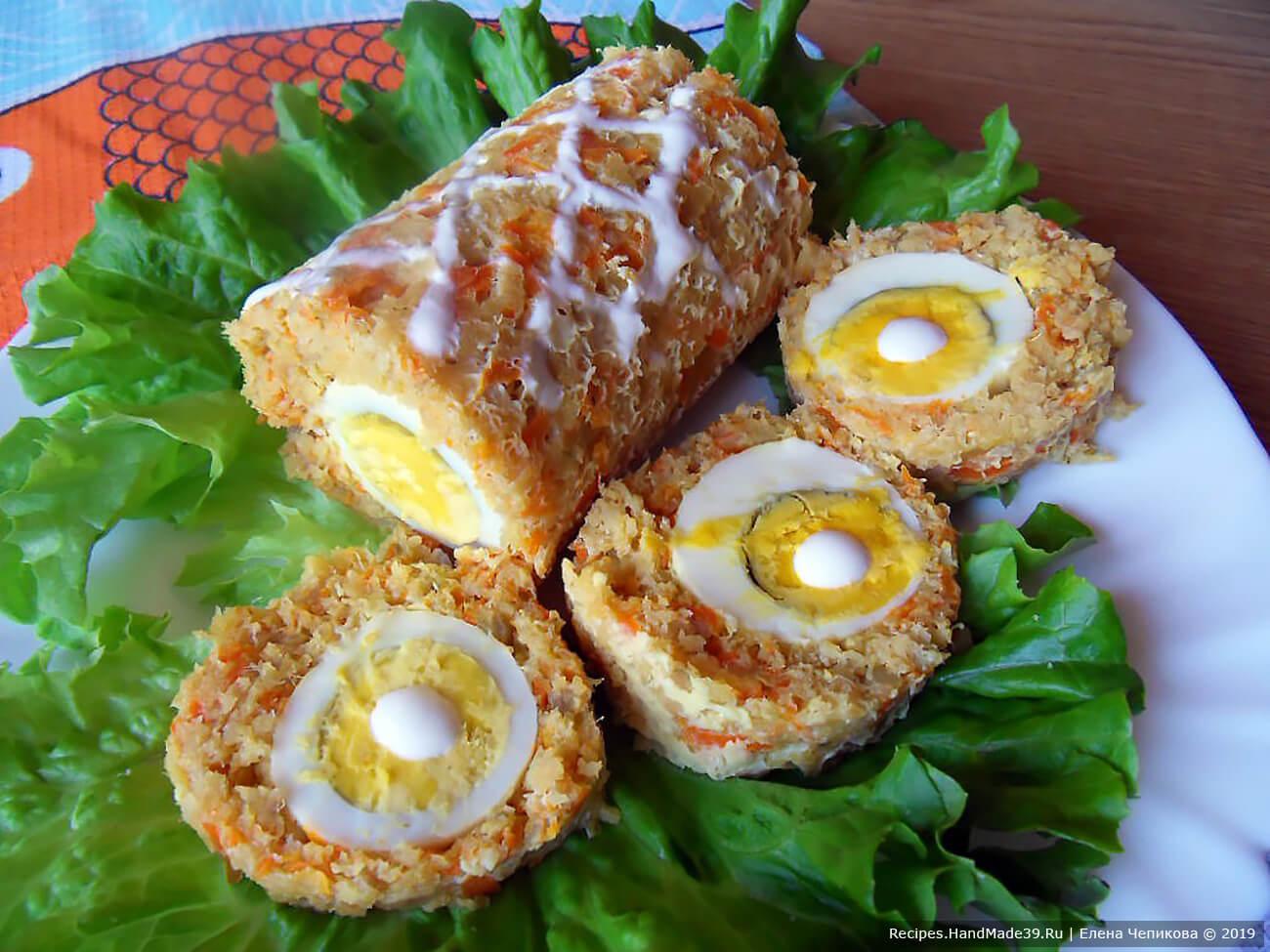 Как приготовить вкусный рыбный рулет с яйцом и овощами, запечённый в духовке – пошаговый рецепт с фото