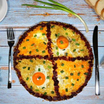 Картофельный хашбраун с беконом и яйцом – пошаговый кулинарный рецепт с фото