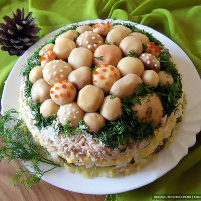 Салат «Грибная поляна» с шампиньонами и курицей – пошаговый кулинарный рецепт с фото