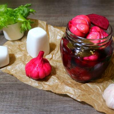 Маринованный чеснок со свёклой – пошаговый кулинарный рецепт с фото