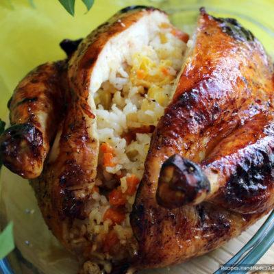 Фаршированная курица с рисом и сухофруктами – пошаговый рецепт с фото