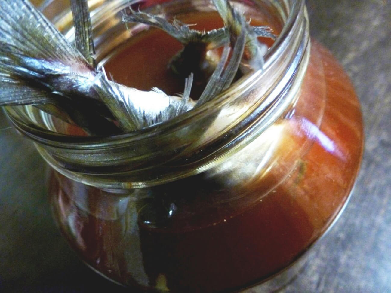 Процедить луково-чайный рассол через сито. Опустить в него тушки скумбрии. Поставить в холодное место для просаливания