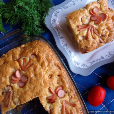 Пышный экспресс-пирог с сыром и сосисками