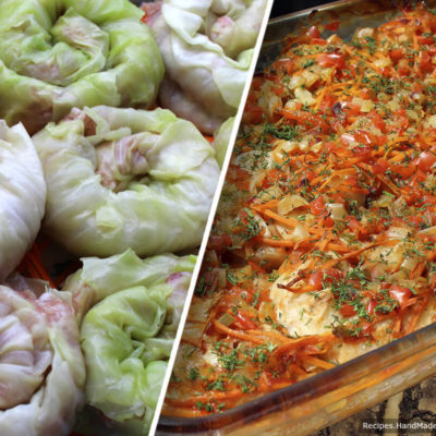 Голубцы «Улитки», запечённые в духовке на овощной подушке