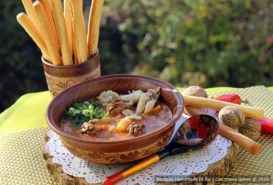 Грузинский суп харчо с курицей и картошкой