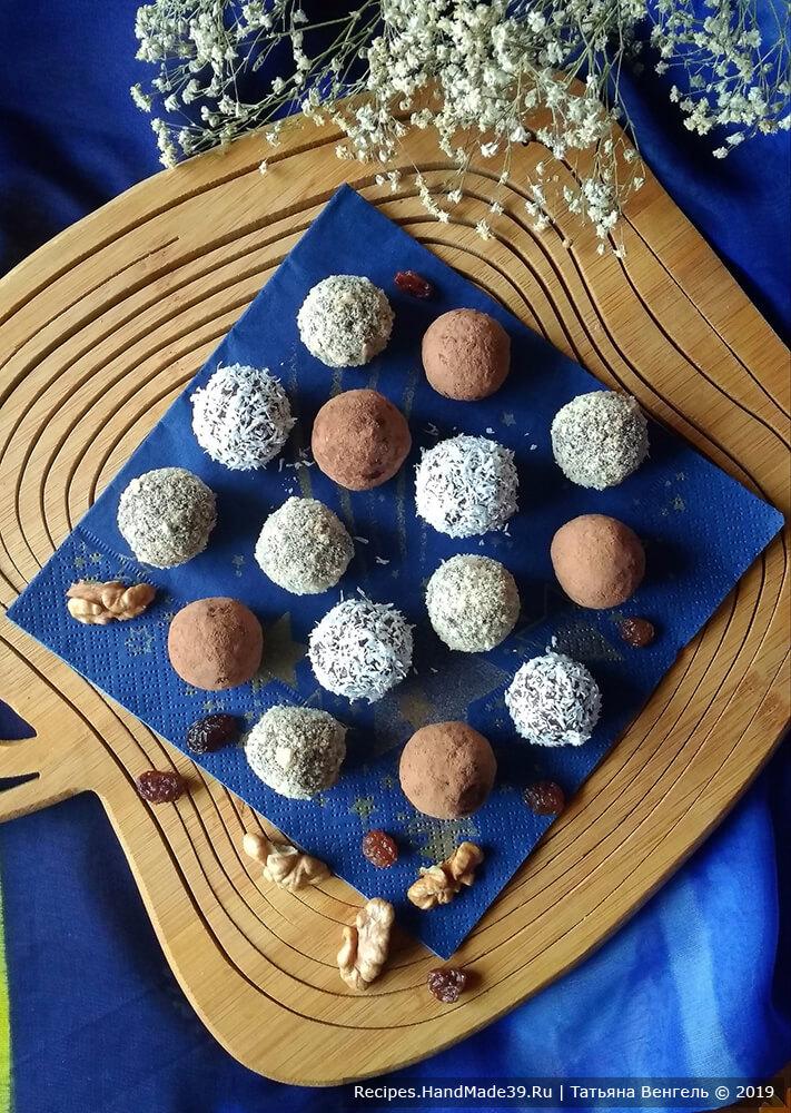 Наши конфеты из овсяных хлопьев с орехами, черносливом и изюмом готовы!