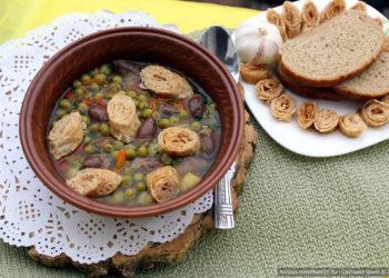 Суп с куриными сердечками и блинными рулетиками – пошаговый рецепт с фото