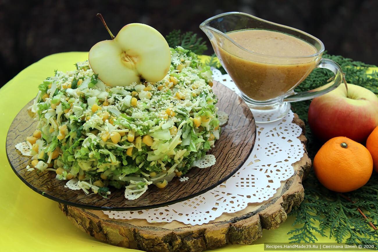 Лёгкий дамский салат из пекинской капусты в горчичной заправке
