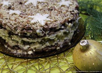 Салат «Орландо» с языком и грибами