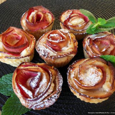 Кексы с яблоками в форме розы