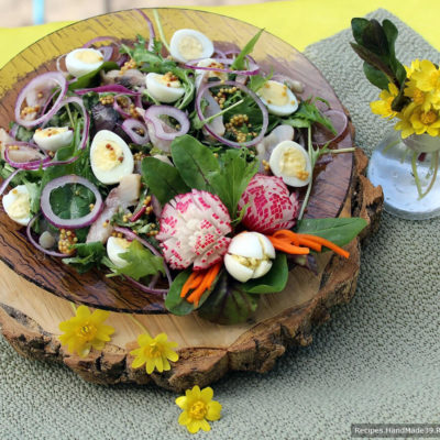Норвежский салат с сельдью и перепелиными яйцами – пошаговый рецепт с фото