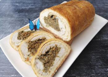 Закусочный сырный рулет с курицей и грибами – пошаговый рецепт с фото