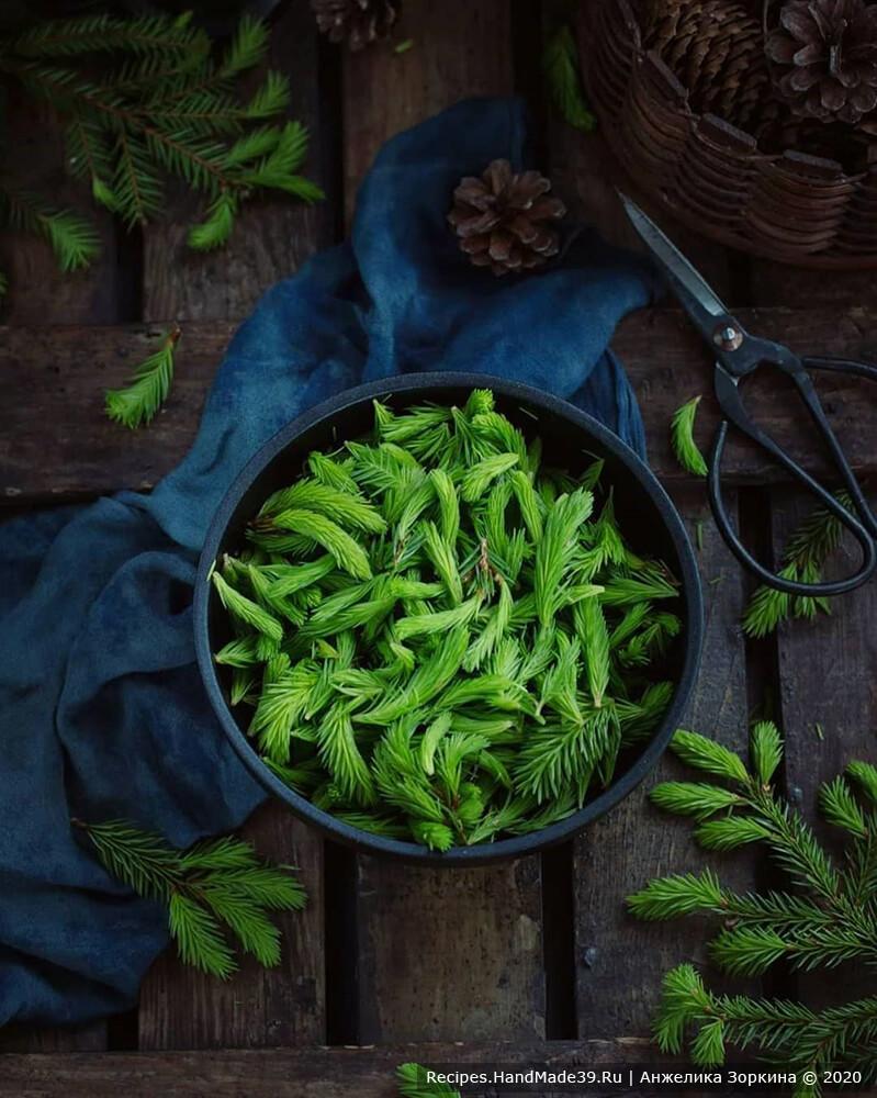 Собрать молодые еловые веточки. Это побеги светло-зелёного цвета, которые вырастают на самых кончиках веток ели