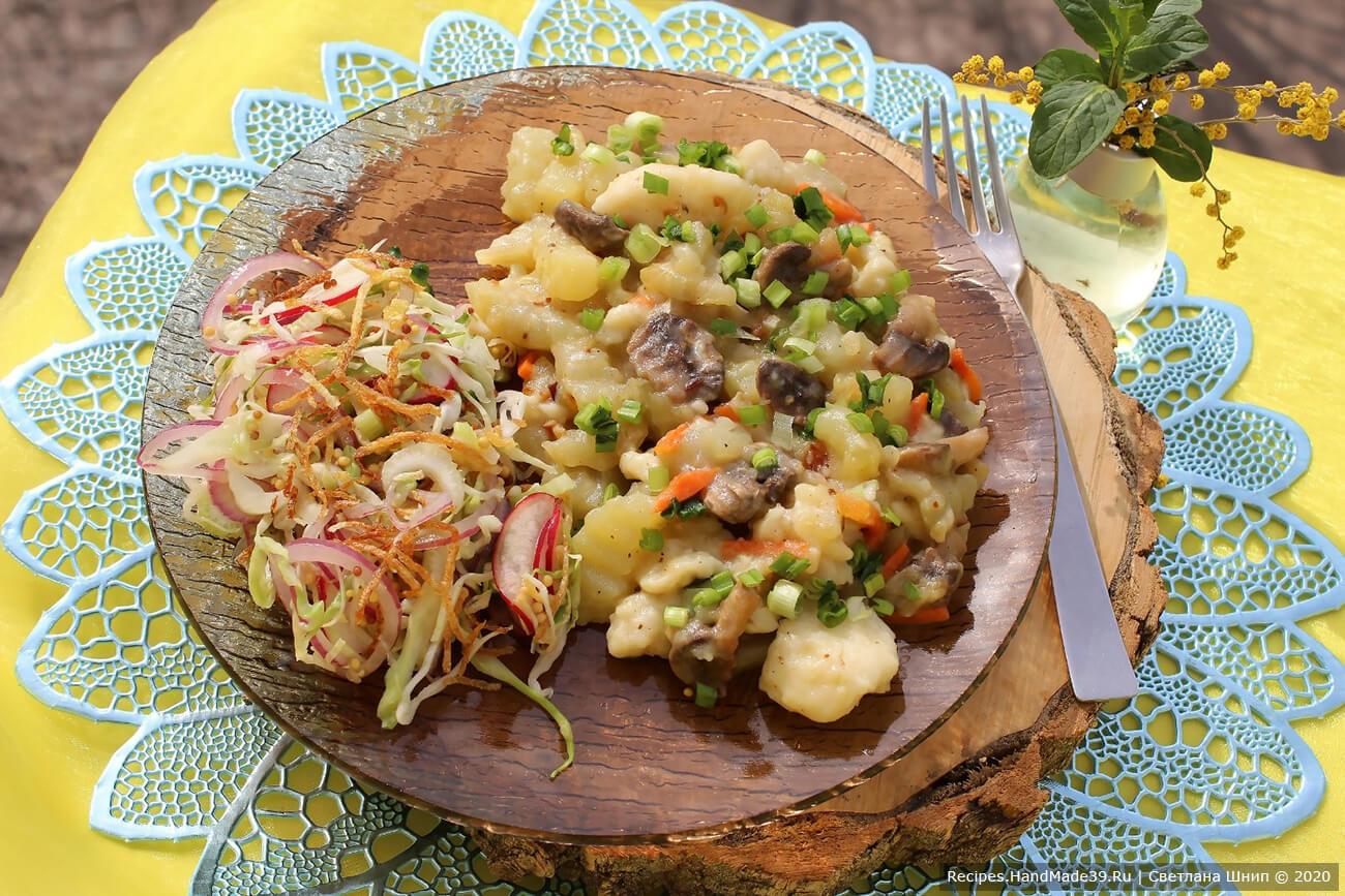 Галушки с картофелем и грибами