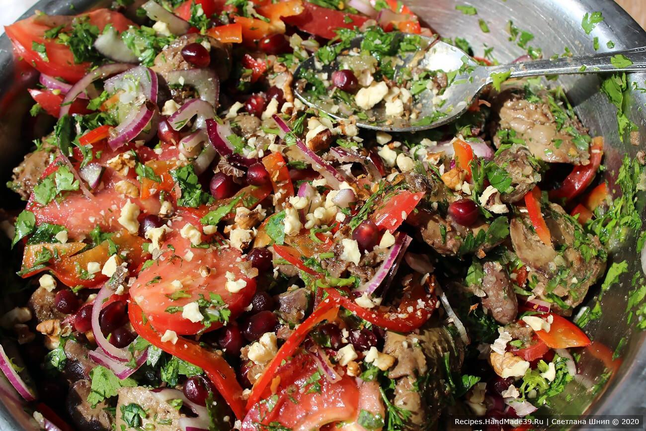 Салат с куриной печенью и помидорами – фото шаг 11
