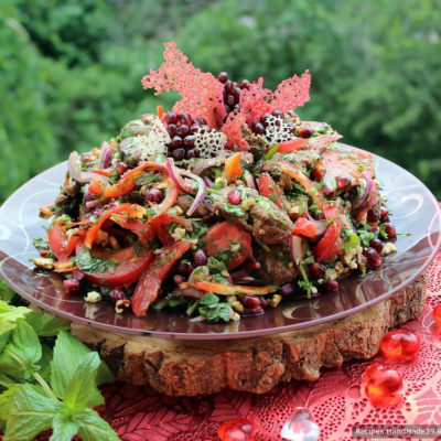 Грузинский салат с куриной печенью и помидорами – пошаговый рецепт с фото