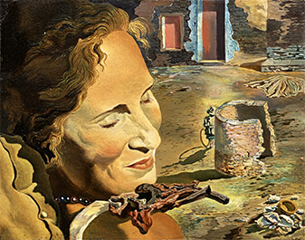 Сальвадор Дали. Портрет Галы с двумя бараньими котлетами, находящимися в равновесии на ее плече. 1934 год