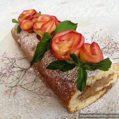 Яблочный рулет – пошаговый кулинарный рецепт с фото