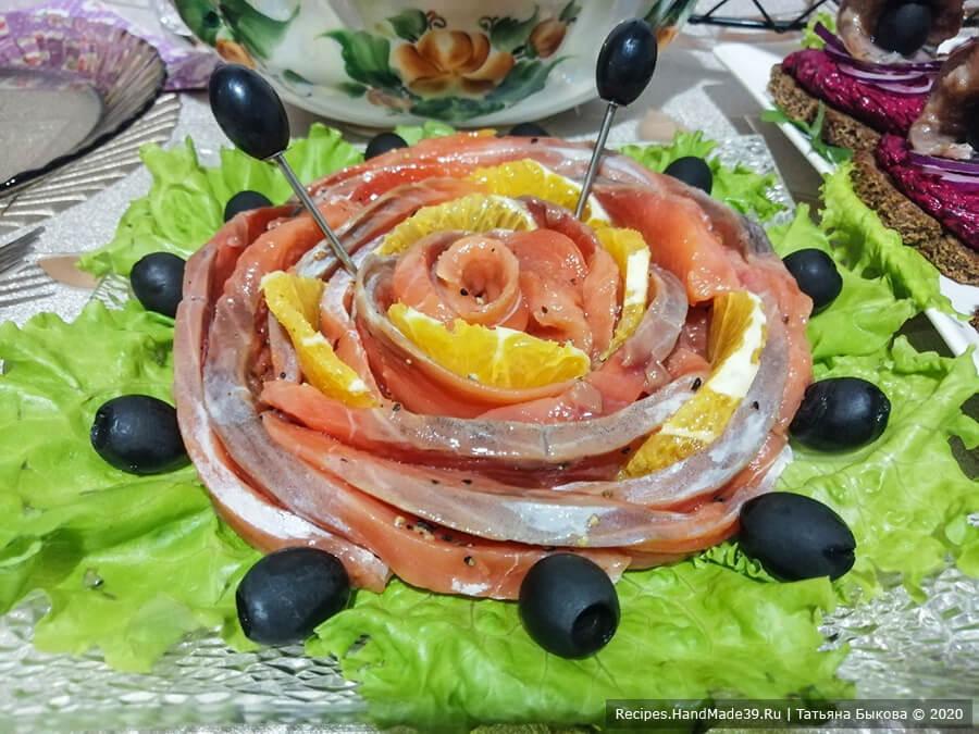 Слабосолёный лосось с апельсином на праздничный стол