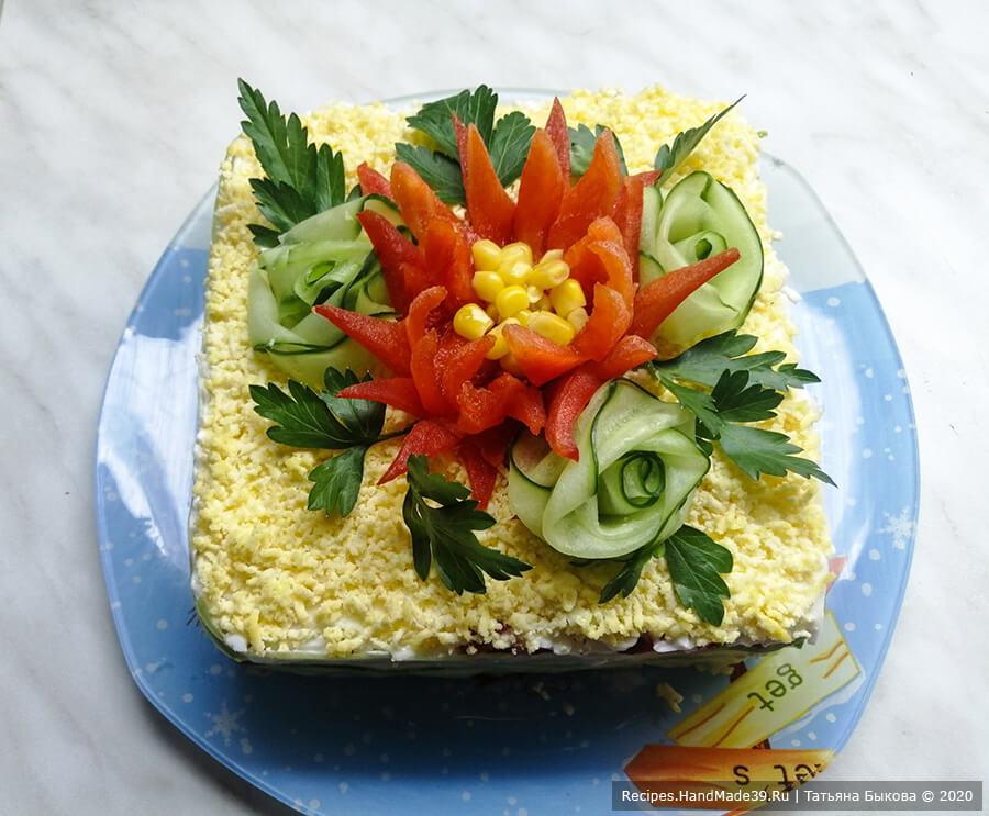 Слоёный салат с крабовыми палочками и кукурузой «Аленький цветочек»