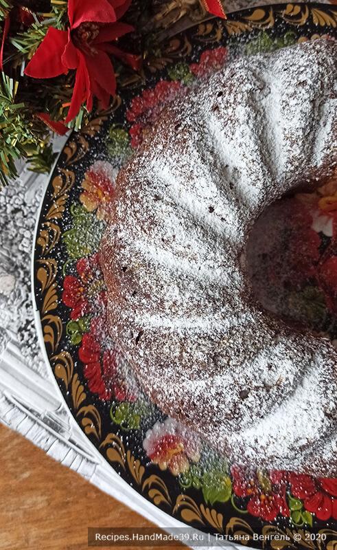 Пряный заварной кекс – фото шаг 6. Готовый кекс можно украсить помадкой, но я просто посыпала пудрой. Приятного аппетита!