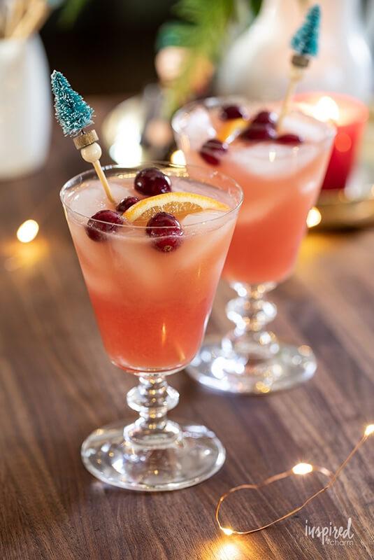 Рождественский коктейль с водкой – фото шаг 2. Украсить долькой апельсина и свежей клюквой.