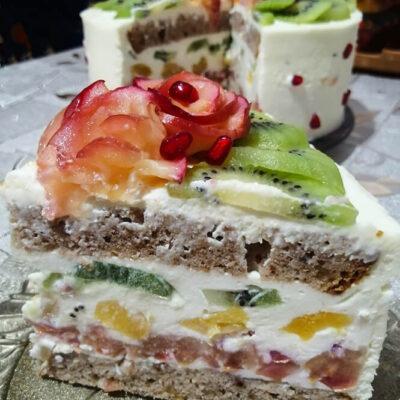 Фруктовый бисквитный торт с творожным кремом «Фруктовый букет»