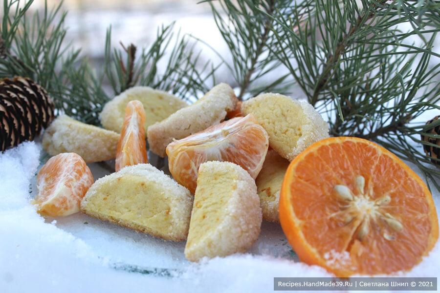 Печенье «Мандариновые дольки» – фото шаг 10. Выпекать печенье 10 минут в духовке, разогретой до температуры 180 °C. Приятного аппетита!