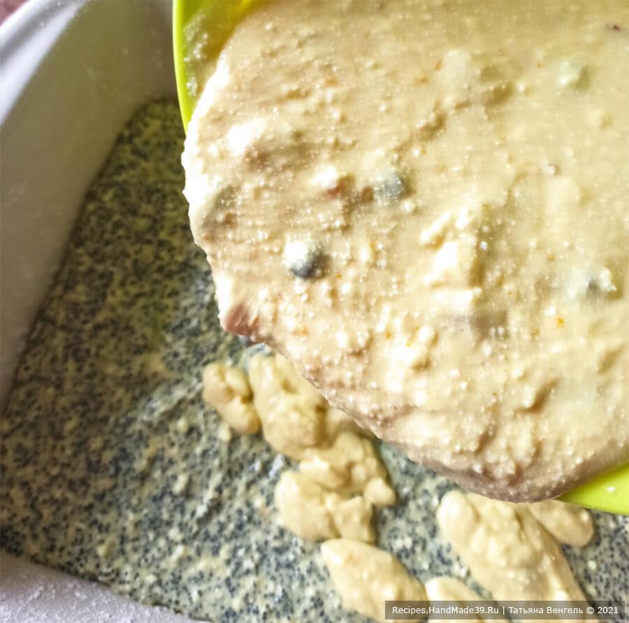 Творожная запеканка без муки – фото шаг 8. Сверху вылить тесто с сухофруктами