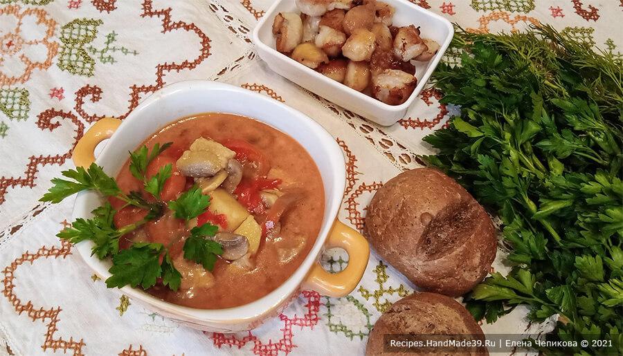 Суп-жаренка со свининой и грибами