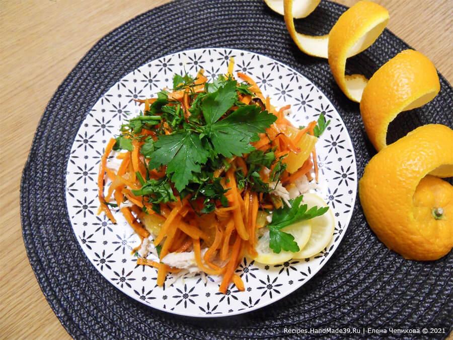 Салат по-мароккански с морковью и курицей