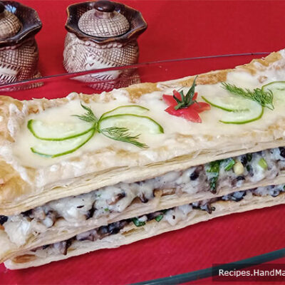 Закусочный торт «Наполеон» с картофелем, грибами и сыром
