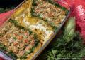 Рулетики из кабачков с фаршем, запечённые в духовке с картофелем под сливочным соусом