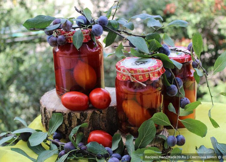 Маринованные помидоры со сливами – пошаговый кулинарный рецепт с фото